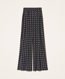 "Printed crêpe de Chine palazzo trousers Black /""Nude"" Beige Optical Print Woman 202ST2508-0S"