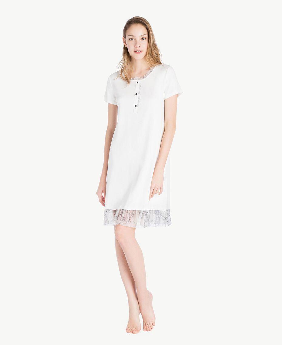Nachthemd aus Jersey Elfenbein Frau LS8DJJ-02