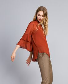 Georgette shirt with ruches Reddish Brown Woman TA828A-02