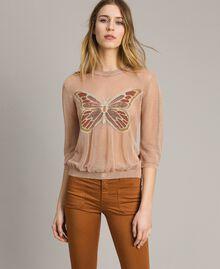 """Pull en lurex avec détail papillon Lurex Rose """"Sable Rose"""" Femme 191TT3101-03"""