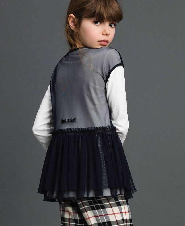 Blouse en tulle avec broderies et t-shirt Blanc / Noir Enfant 192GJ2434-04