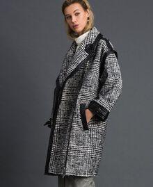 Cappotto in panno principe di Galles Jacquard Neve / Nero Donna 192TT2101-02