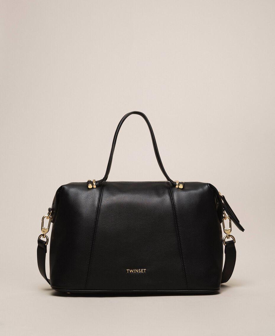 Bauletto-Tasche aus Lederimitat Schwarz Frau 201TA7162-01