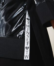 Maxi sweatshirt with patent leather inlays Black Woman 202LI2JAA-06