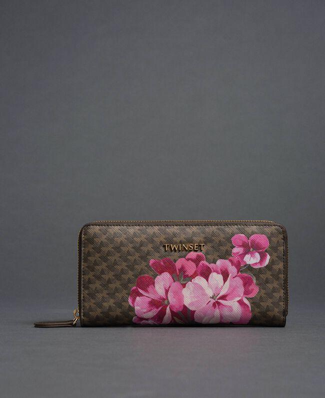 Geldbörse aus bedrucktem Lederimitat Schmetterling-Blumen-Print Armeegrün Frau 192TA7019-01