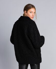 Faux lamb fur peacoat Black Woman JA82KG-03