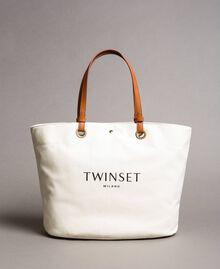 Großer Shopper aus Canvas mit Logo Schwarz Frau 191TO8202-02