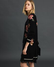 Maxi cardigan with floral jacquard and embroidery Black Woman 192TP3322-04
