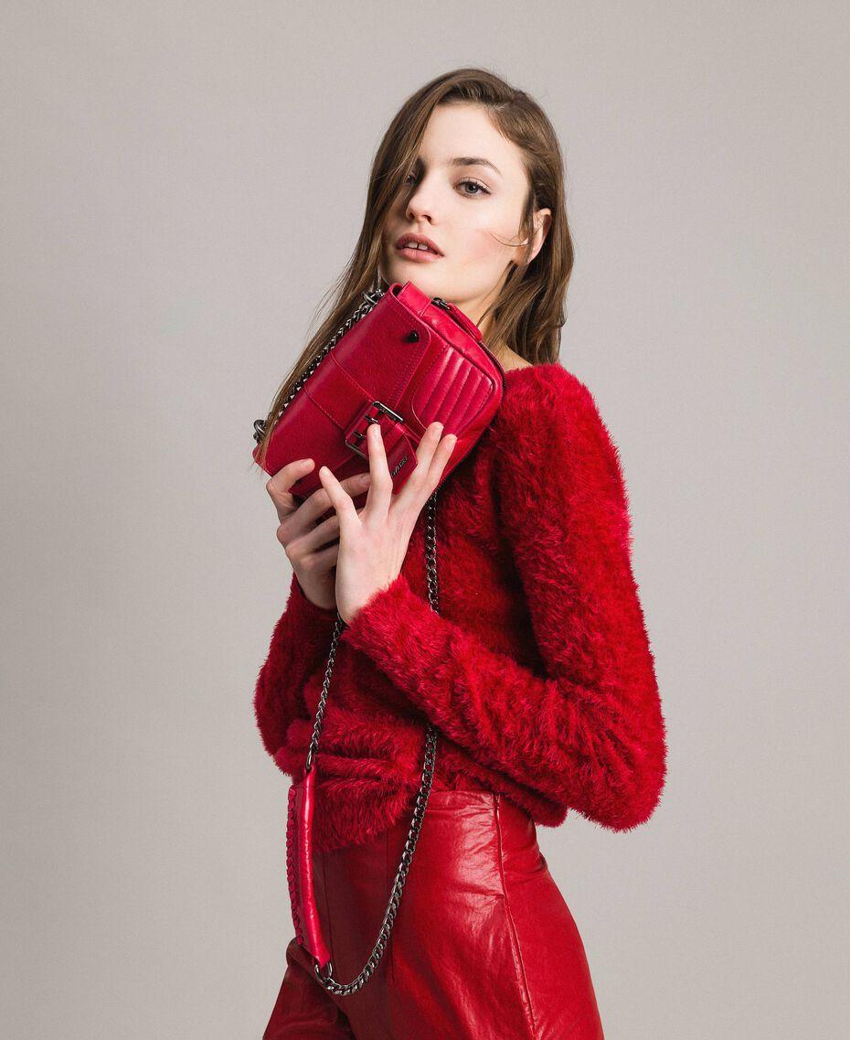 "Sac à bandoulière Rebel en cuir Rouge ""Rubis"" Femme 191TA7237-0S"