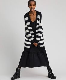 "Striped mohair maxi cardigan Black / ""Papyrus"" White Stripe Woman 192TP3272-02"