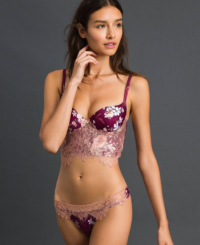 Floral G-string with lace Purple Red Floral Print Woman 192LI6588-01