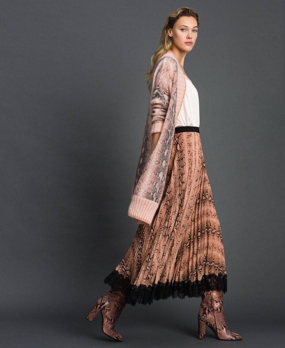 Animal print pleated midi skirt Canyon Pink Python Print Woman 192TT2274-01