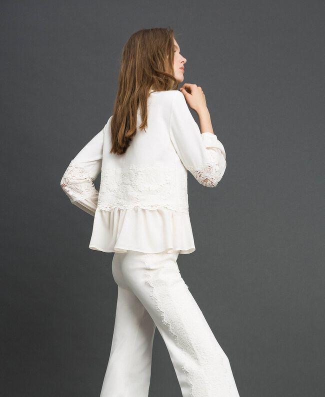 Blusa con pizzo macramè e balza Bianco Neve Donna 192TT2213-03