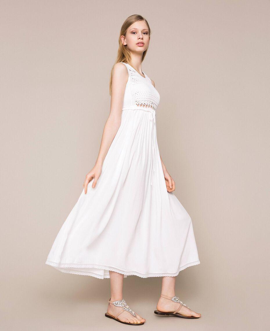 Long dress with crochet Black Woman 201LB36AA-02