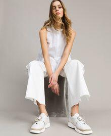 Leder-Sneakers mit Schnalle Weiß Frau 191TCT05C-0S