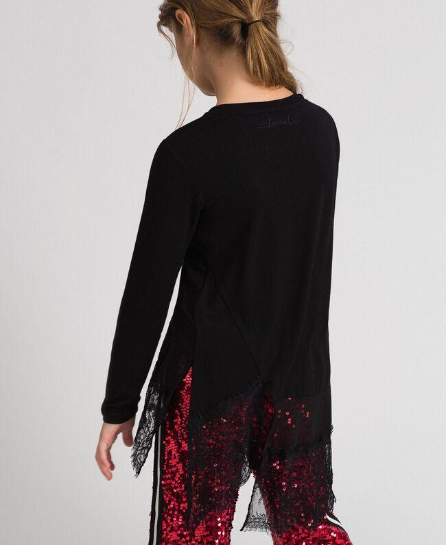 Maxi t-shirt avec détails en crêpe georgette et dentelle Noir Enfant 192GJ2468-03