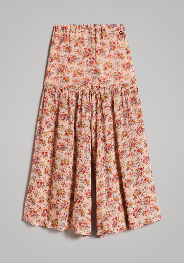 Floral georgette trouser skirt