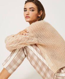 Pantalon cigarette en tissu à carreaux Prince-de-Galles Carreaux Blanc Crème / Beige «Dune» Femme 202MP228B-05