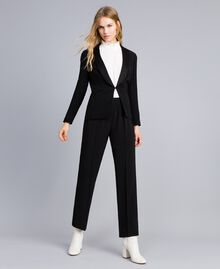 Pantalon palazzo en envers satin Noir Femme TA824A-01