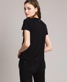 T-shirt con balze in tulle plissé Nero Donna 191MP2235-03