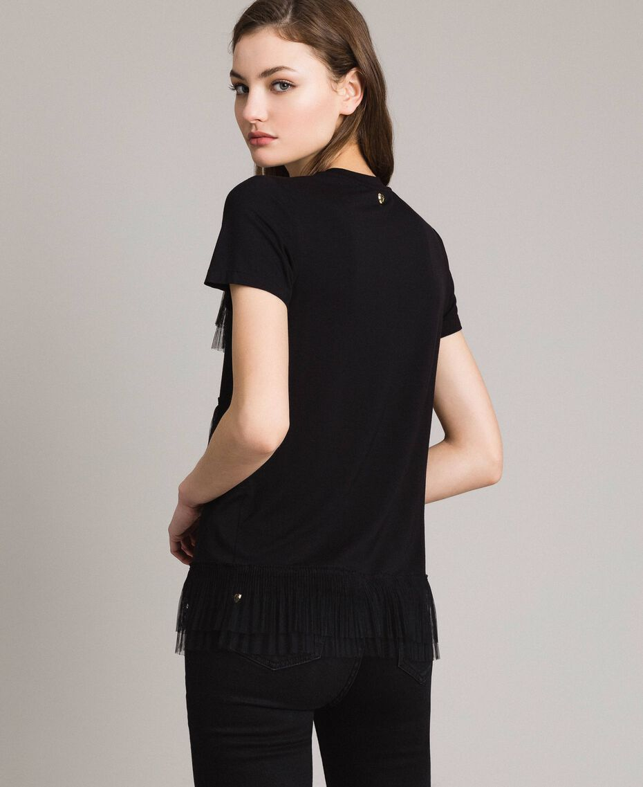 T-shirt with pleated tulle flounces Black Woman 191MP2235-03