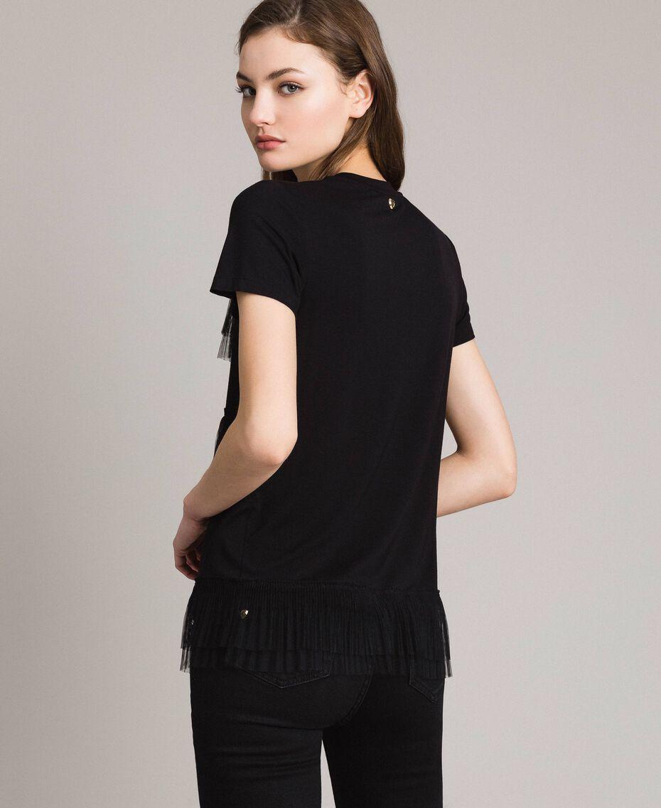 T-shirt avec volants en tulle plissé Noir Femme 191MP2235-03