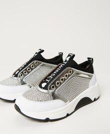 Sneakers de piel con strass Bicolor Blanco «Off White» / Plata Niño 211GCJ020-01
