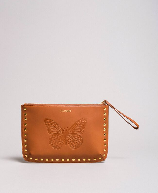 Studded leather clutch bag Leather Brown Woman 191TO8263-01