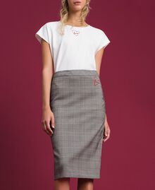 Mid-length Glen plaid skirt Prince of Wales Woman 192MP2283-04