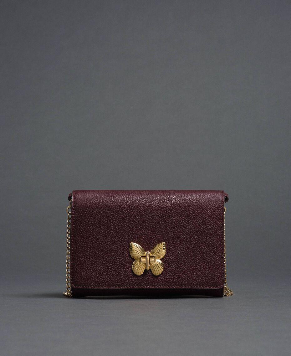 Petit sac à bandoulière avec fermoir papillon Rouge Betterave Femme 192TA7022-03