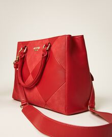 Sac shopping en similicuir Rouge Cerise Femme 202MA7020-04