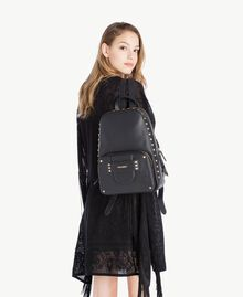 TWINSET Studded backpack Black Woman OS8TBA-05