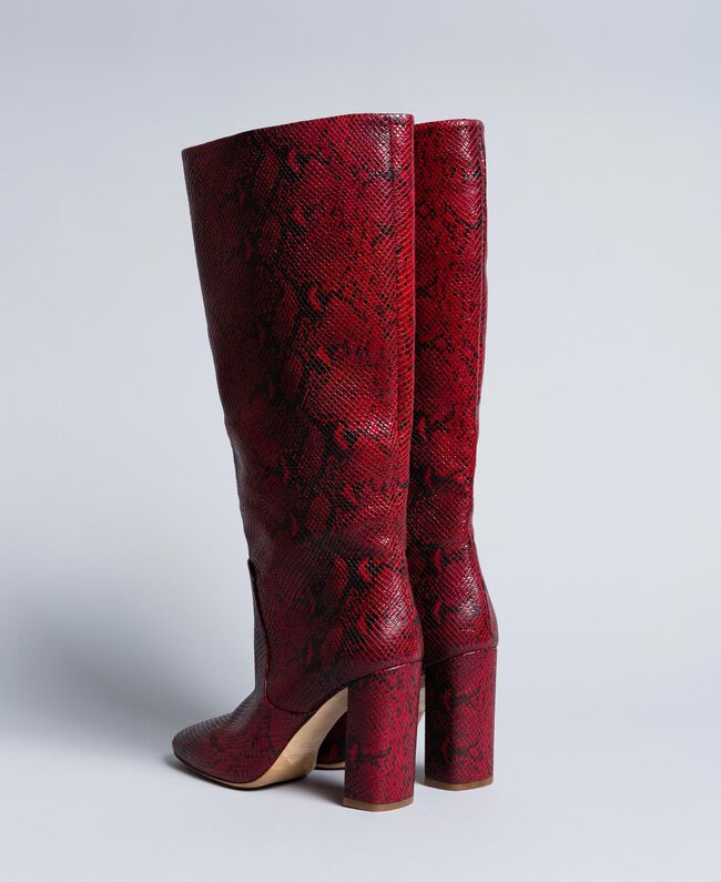 Leather high boots Burgundy Python Woman CA8PLJ-03
