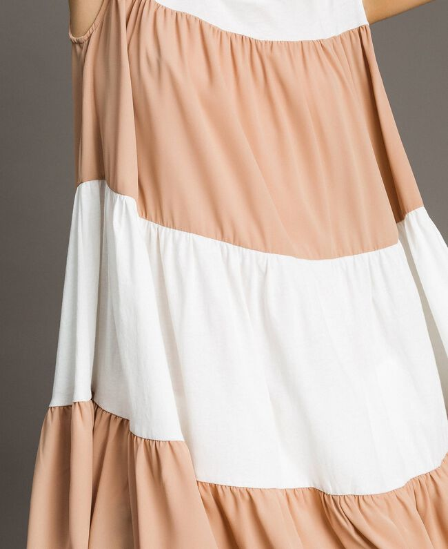 "Jersey and muslin mini dress Two-tone Ivory / ""Petra Sandstone"" Brown Woman 191LM2HHH-04"