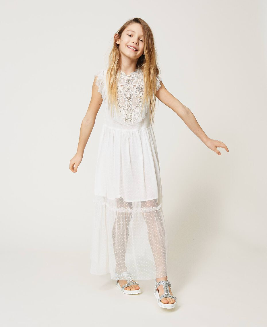 Tulle and muslin dress with embroidery Off White Child 211GJ2Q3B-01
