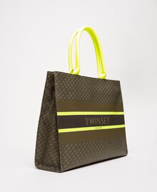 """Butterfly print faux leather shopper """"Camouflage"""" Green Butterfly Print / Fluo Yellow Woman 201TA7240-02"""