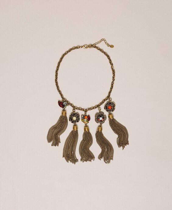 Halskette mit Blumenanhängern mit Quasten