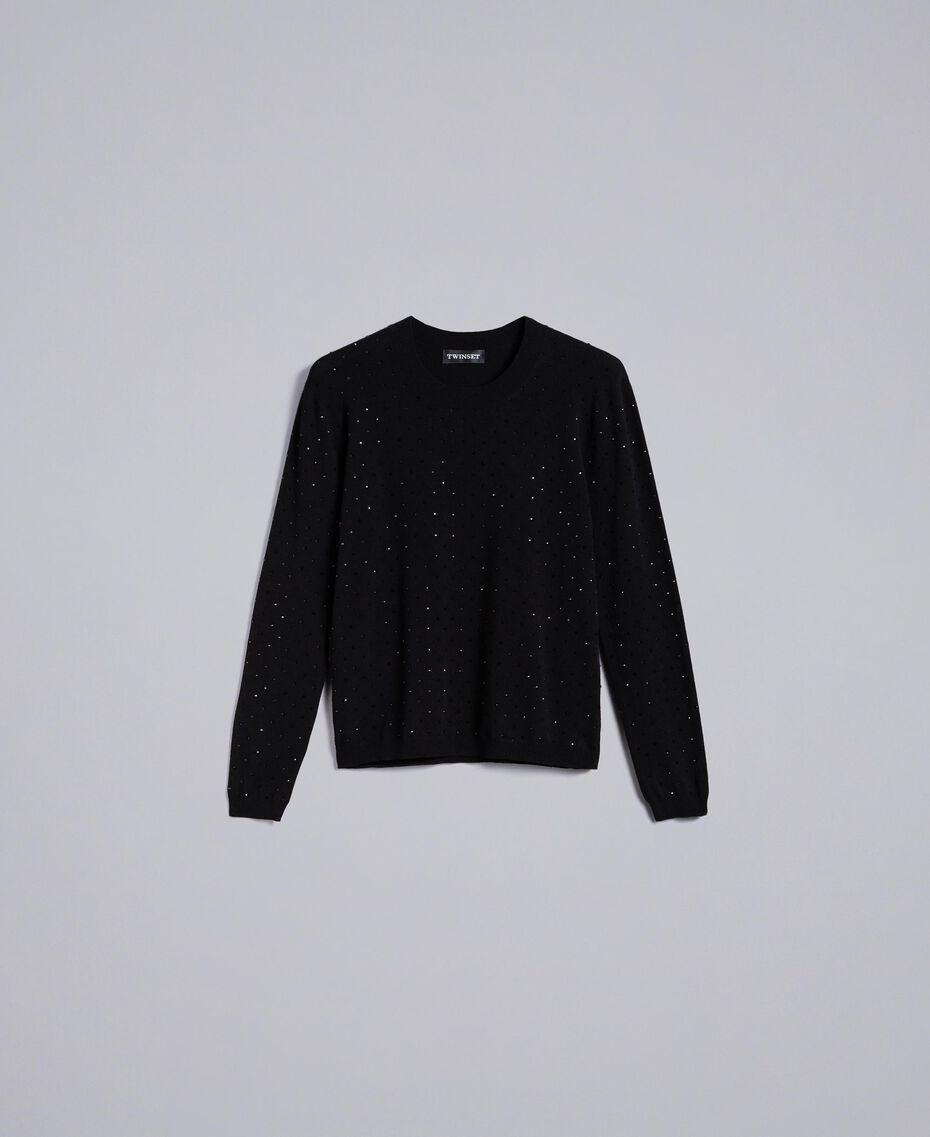 Viscose jumper with rhinestones Black Woman TA836B-0S