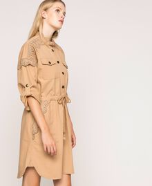 "Canvas dress with broderie anglaise ""Dune"" Beige Woman 201TP2014-03"