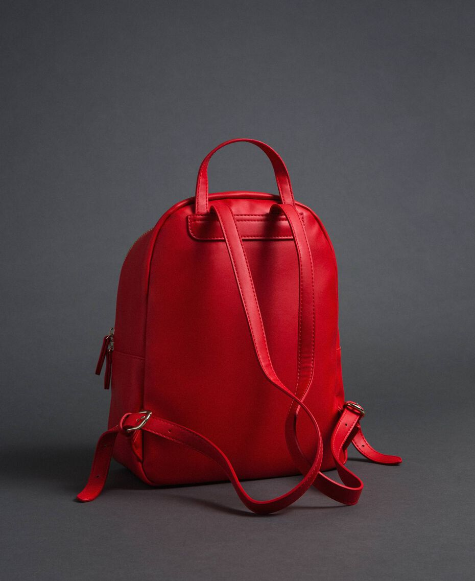 Faux leather backpack with quilted hearts Poppy Red Woman 192MA7082-03