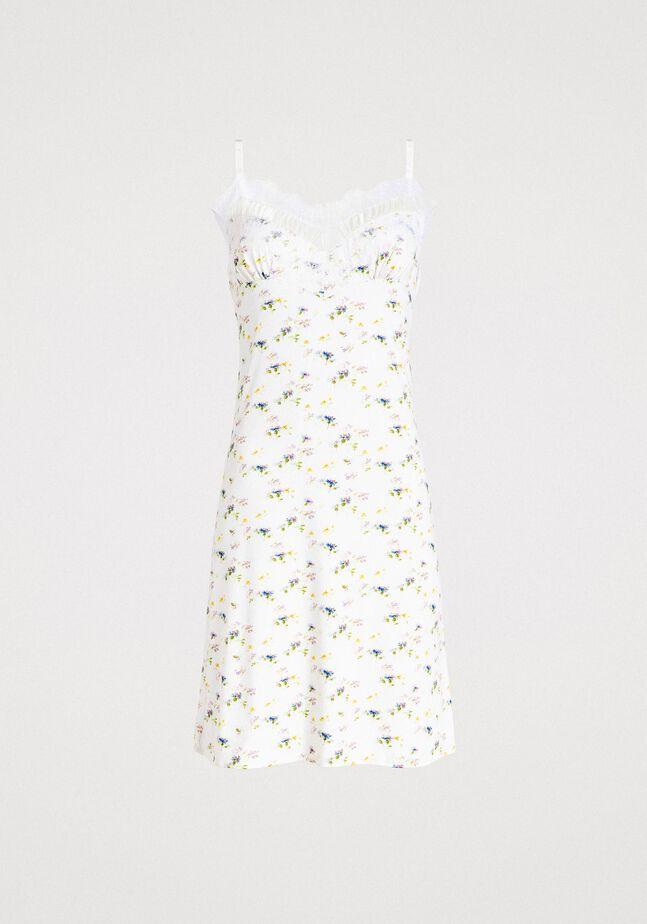Vestido lencero con estampado floral y encaje