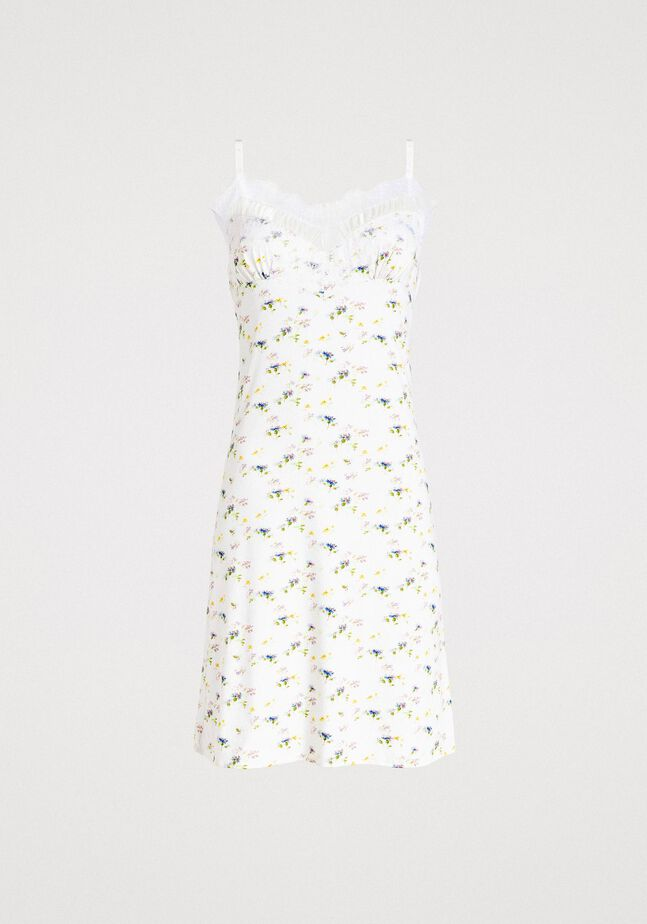 Floral print slip with lace