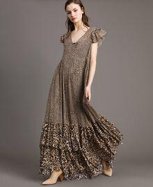 Robe longue en georgette à imprimé animalier Imprimé Animalier Mixte Femme 191TP2724-02