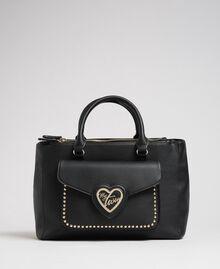 Zweifarbiger Shopper aus Lederimitat Schwarz Frau 192MA7100-02