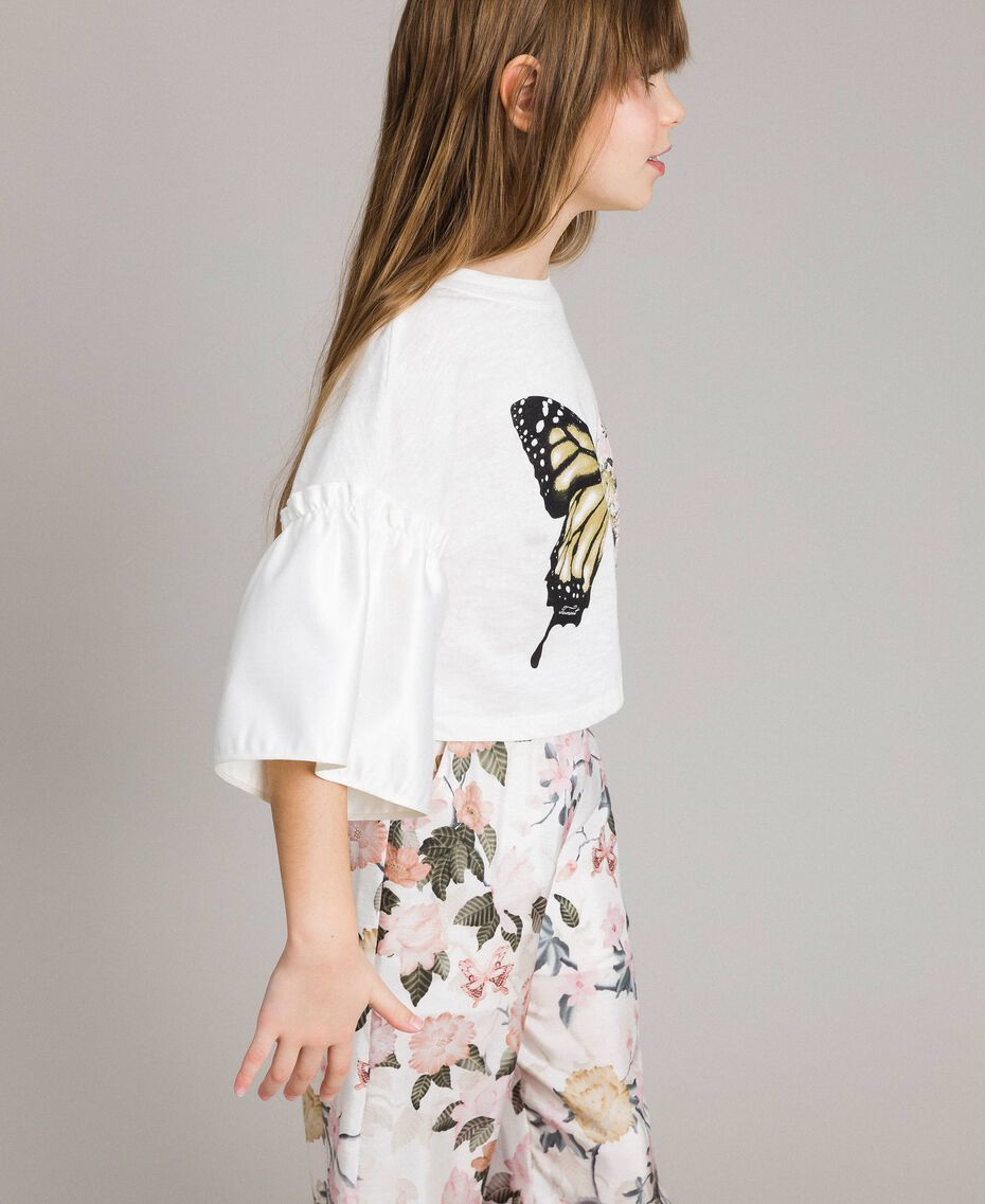 Jersey T-shirt with satin flounce Off White Child 191GJ2402-02