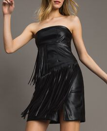 Faux leather bustier dress with fringes Black Woman 191TT2320-01