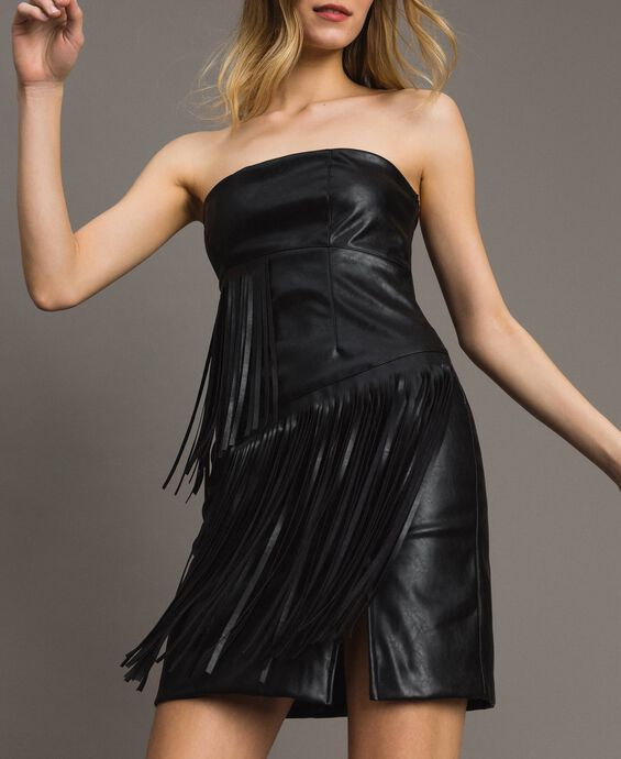 Faux leather bustier dress with fringes