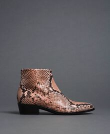Animal print leather booties Mousse Pink Python Print Woman 192TCP10A-02