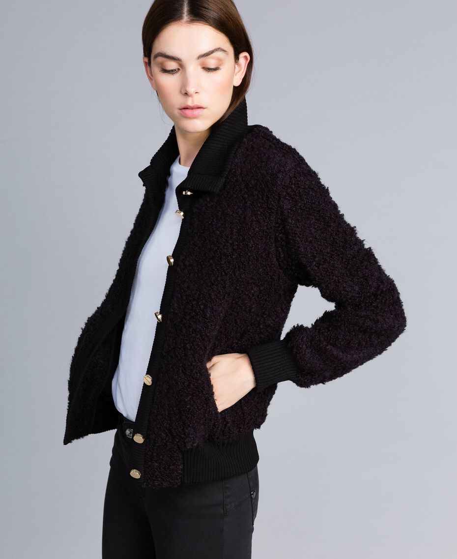 Wool blend bouclé bomber jacket Black Woman IA87DD-02