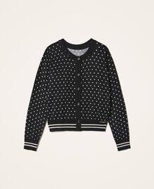 "Printed jumper-cardigan with rhinestones Black / ""Snow"" White Star Print Child 202GJ3640-0S"